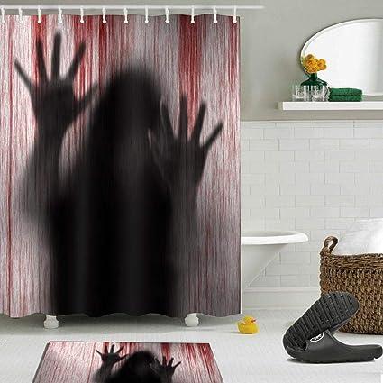 Umiwe Halloween Shower Curtain With 12pcs Hooks Floor Mat Bloody Bathroom Waterproof Blood Bath