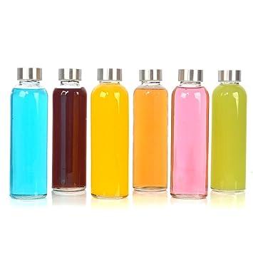 StarSide Botella de agua de cristal transparente con tapas de acero inoxidable a prueba de fugas