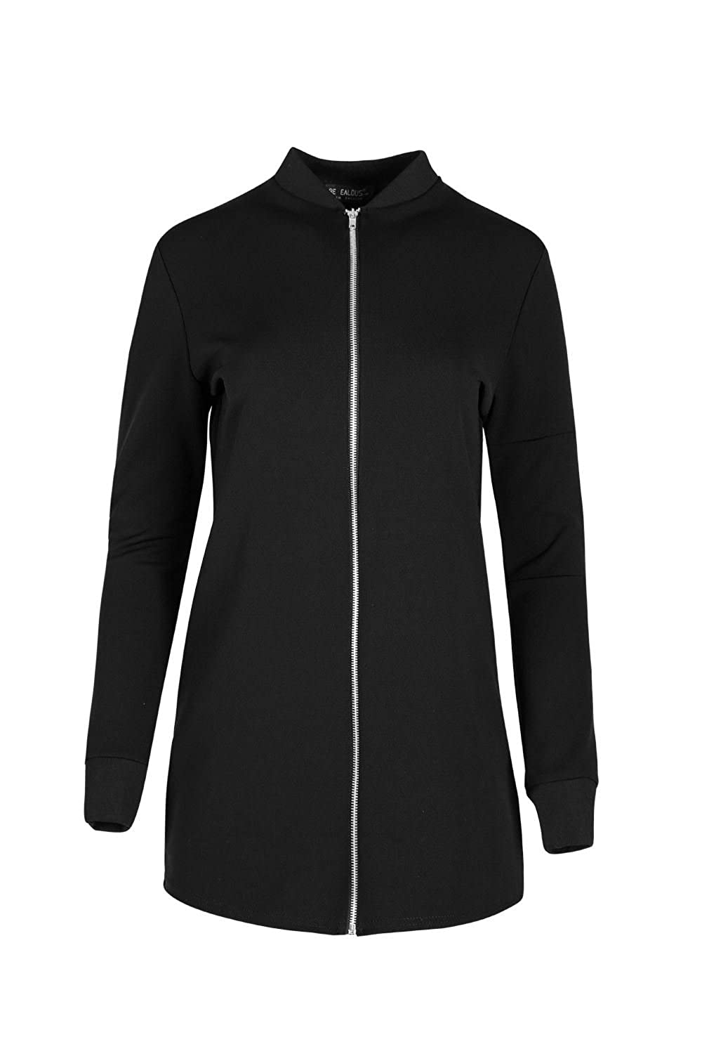 Oops Outlet Womens Zip Up Contrast Collared Longline Scuba Bomber Jacket Coat