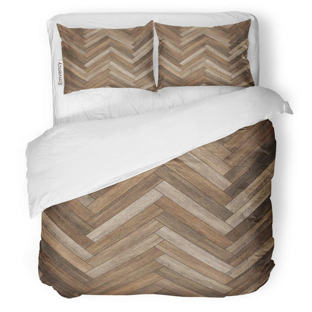 SanChic Duvet Cover Set Arrow Wood Parquet Herringbone Brown Ash Beechwood Chevron Decorative Bedding Set with Pillow Sham Twin Size
