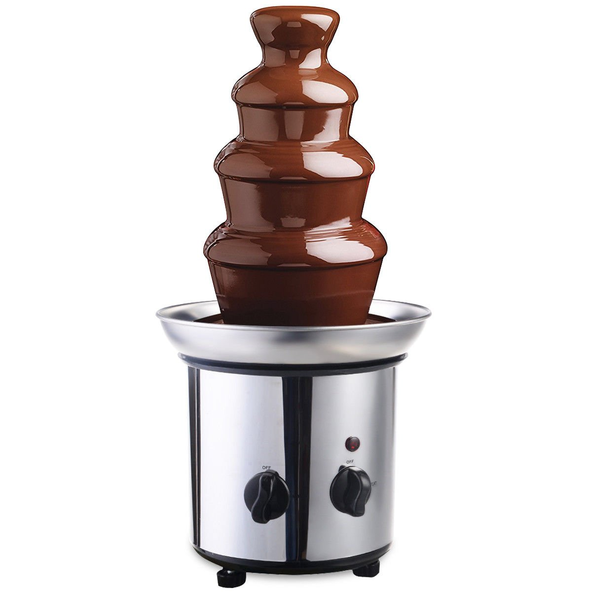 Commercial Luxury Hot Electric Chocolate Cheese Fondue Fountain 4 Tiers Design Adjustable Stanza Temperature Stable Heating Stainless Steel Material Parties Wedding Ceremony Restaurant