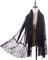 Women Lace Scarf Lightweight Shawl,RiscaWin Soft Contracted Style Both Ends Floral Lace Soft Scarf Spring Shawl