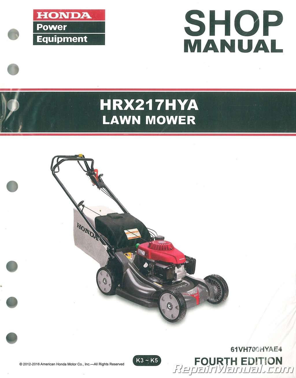 61VH700HYAE3 Honda HRX217 HYA Lawn Mower Repair Service Shop Manual:  Manufacturer: Amazon.com: Books