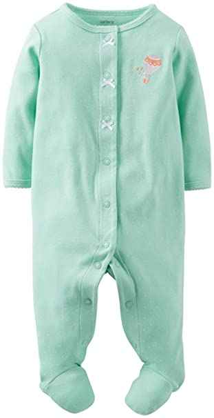 678a4b8fa Amazon.com  Carter s Baby Girls  Micro Fleece Footie (Baby) - Mint ...