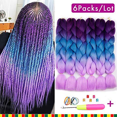 - 6 Pcs Ombre Braiding Hair Synthetic Hair Crochet Braids 100g Kanekalon Fiber 24inch Jumbo Braids Hair Extensions (Purple to Blue to Pink)