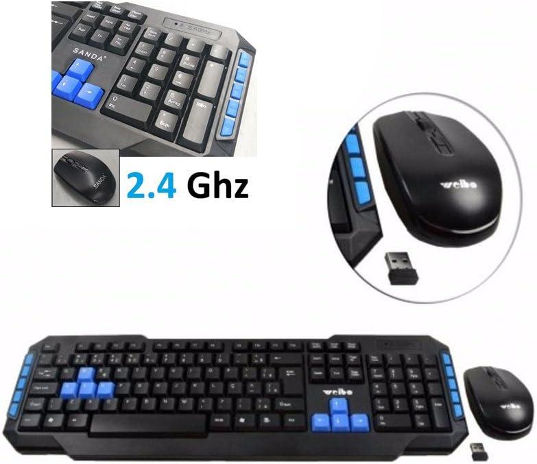 Teclado y raton receptor inalambrico 2.4 Ghz version 10m alcance gaming