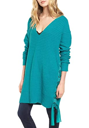 168d064b5b5 Free People Womens Lace-Up V-Neck Pullover Sweater at Amazon Women s ...