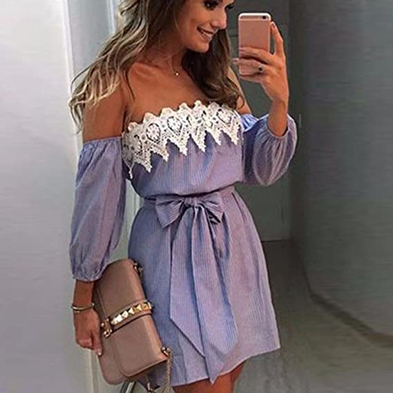 Toimothcn Strapless Dress, Women Long Sleeve Off Shoulder Lace Party Mini Dress with Belt at Amazon Womens Clothing store: