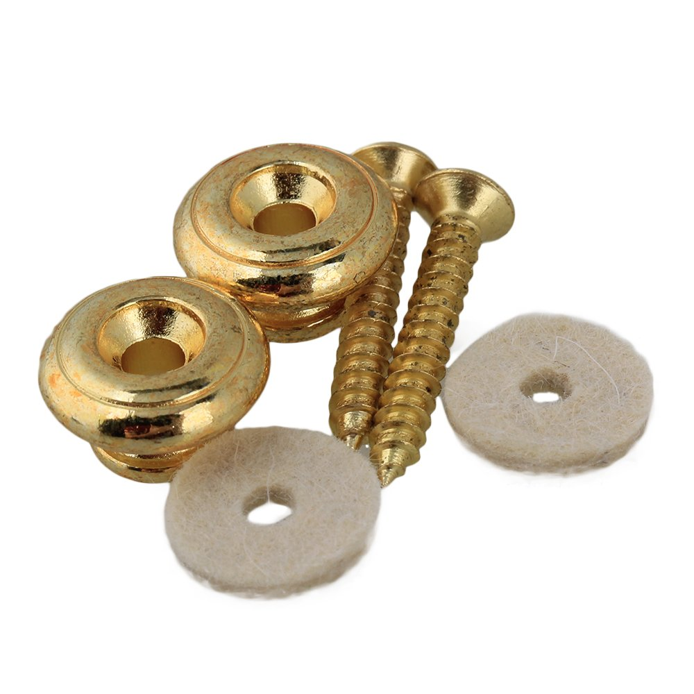 Yibuy Golden Acoustic Guitar Mushrooms Head Strap Buttons Pins Set of 2