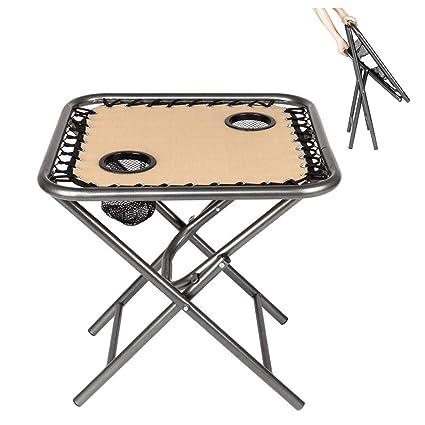 Amazon.com: Bonnlo - Mesa auxiliar plegable con soporte de ...