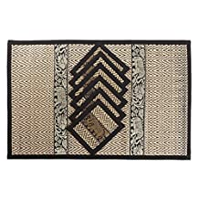 Thai Silk and Bamboo Tablemat Set of 6 with Matching Coasters and Elephant Design - Black