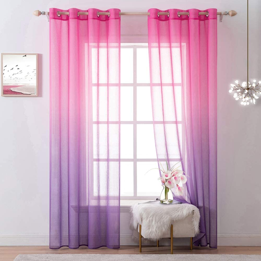 MIULEE Pink and Purple Ombre Sheer Curtains for Girls Bedroom Decor 2 Panels Grommet Window Gradient Voile Panels Drapes/Treatment for Kids Living Room Decoration (54 X 72 Inches )