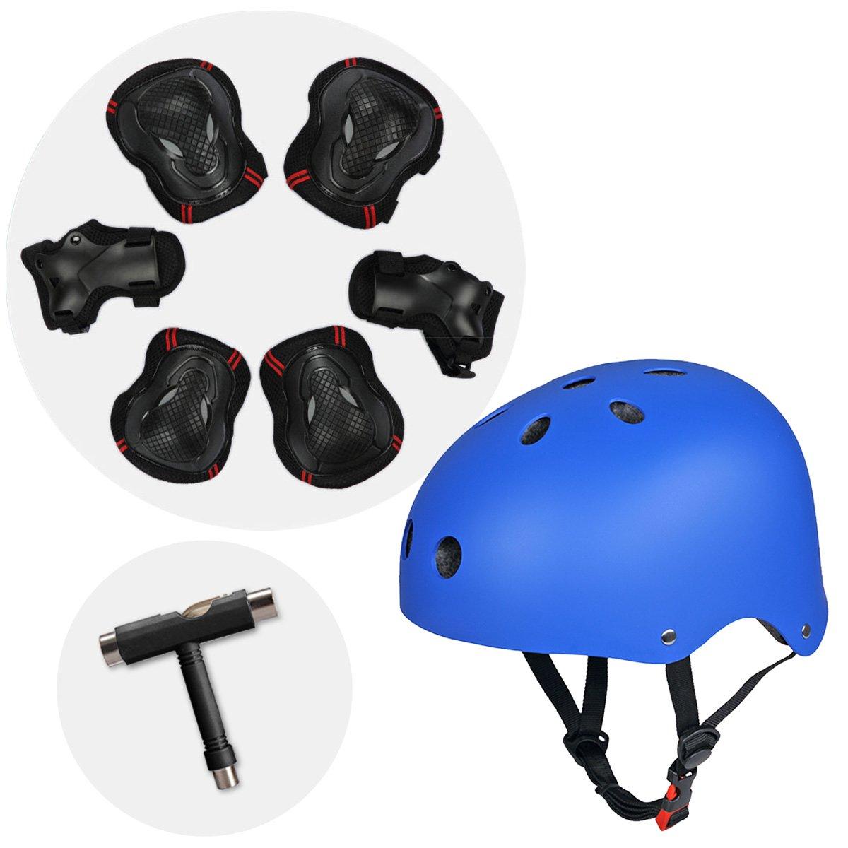Skateboard Helm Sporthelm BMX Helm mit Knieschützer Ellbogenschützer Wrist Pads Handgelenkschoner und T Tool Schraubenschlüssel für Skate, Fahrrad SymbolLife