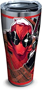 Tervis Marvel - Deadpool Iconic Insulated Travel Tumbler with Lid, 30oz - Stainless Steel, Silver