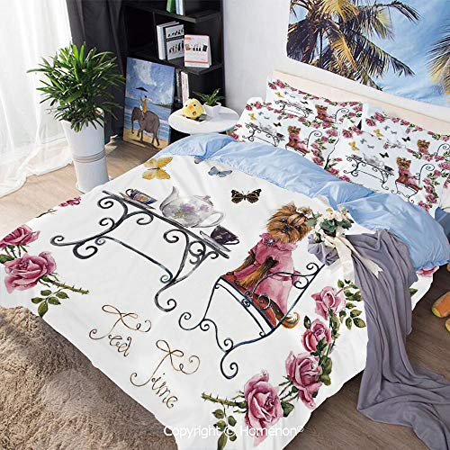 3 Piece Bedding Set,Yorkshire Terrier in Pink Dress Having a Tea Party Tea Time Butterflies Roses Decorative,Queen Size,Include 1 Quilt Cover+2 Pillow case,Pale Pink White