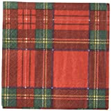 Caspari Entertaining with Royal Plaid Cocktail Napkins, Red, (Pack of 20)