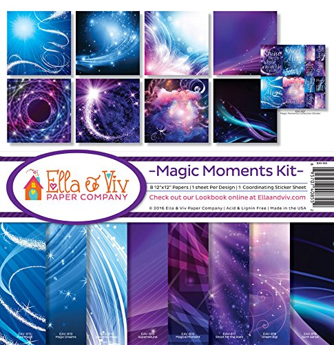 Swirl 12x12 Scrapbook Paper (Ella & Viv by Reminisce EAV-855 Ella & Viv Magic Moments Scrapbook Collection Kit)