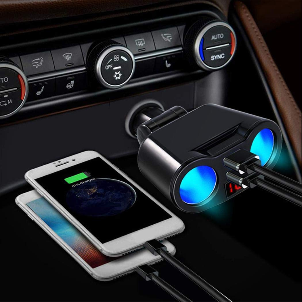 UpBeauty Car Charger Lighter Digital Display Fast Charge Dual USB Car Chargers