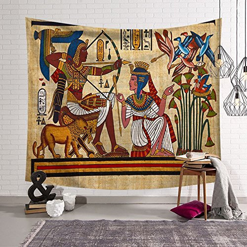 Wall Hanging Throw Blanket - Ancient Egypt Egyptian Civilization Character Wall Hanging Hippie Mandala Bohemian Ethnical Tie Dye BedSpread Intricate Indian Bedspread Throw Blanket Home Room Wall Decor Dorm Tapestry HYC23-US #25