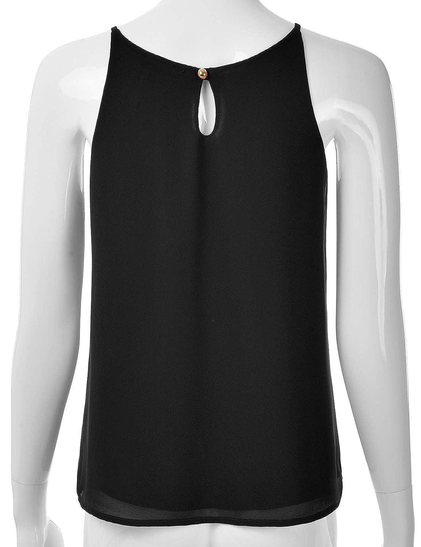 4f9d04afabc Amazon.com  EIMIN Women s Crewneck Pleated Front Double Layered Chiffon  Cami Tank Top (S-3X)  Clothing