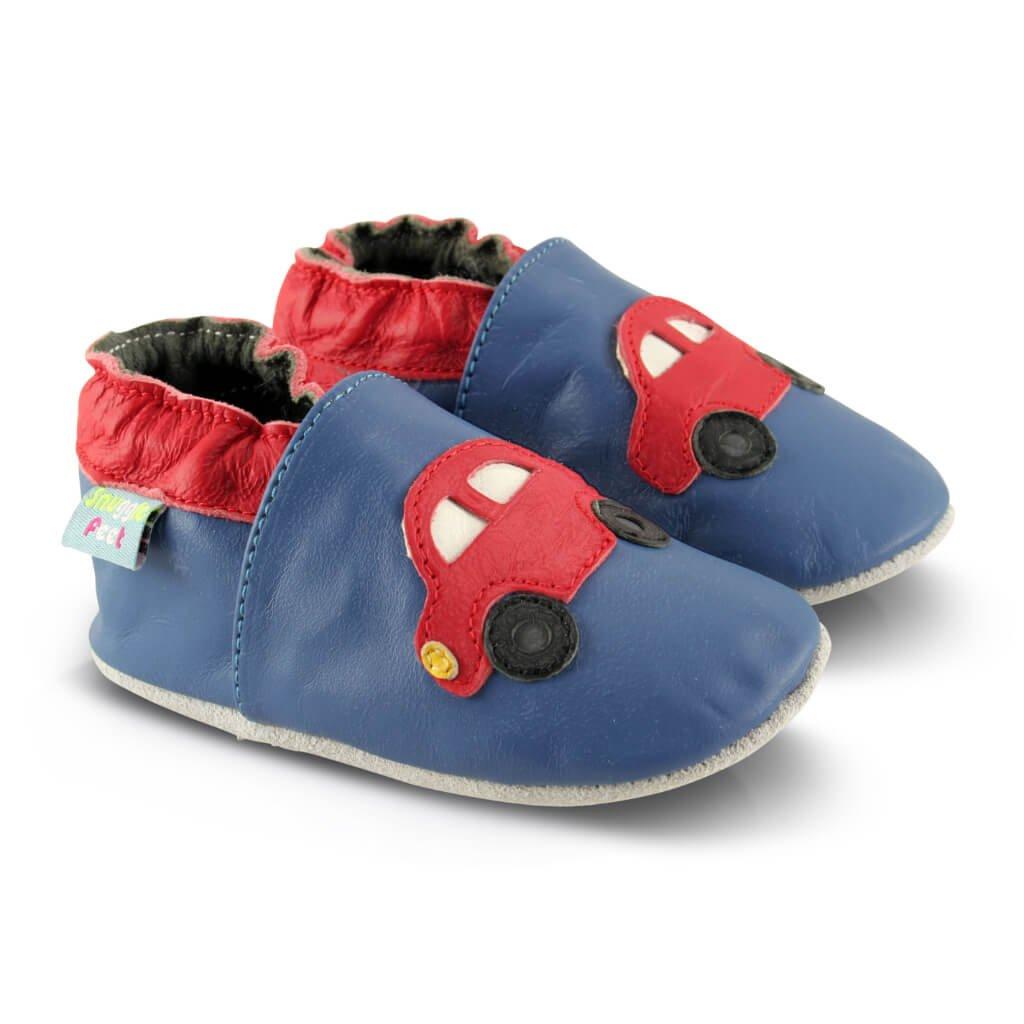 Snuggle Feet - Suaves Zapatos De Cuero Del Bebé coche rojo (6-12 meses): Amazon.es: Bebé