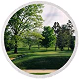 Pixels Round Beach Towel With Tassels featuring ''Sand Traps On A Golf Course, Baltimore'' by Pixels