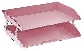 Acrimet Bandeja Portadocumentos 2 Niveles para Cartas (Color Rosa Solido)