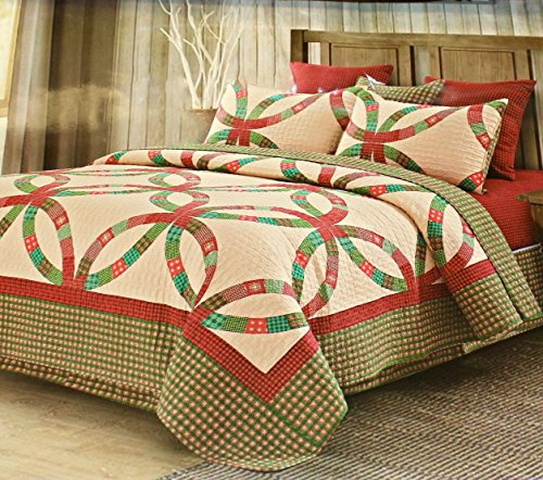 (Vintage Christmas Holiday WEDDING RING QUILT & SHAM SET Red Green Beige (3pc FULL/QUEEN SIZE))