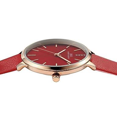 Amazon.com: IBSO Women Fashion Simple Watch Ultra-Thin Retro Quartz Analog Leather Strap Ladies Wristwatch (6603 Red): Watches