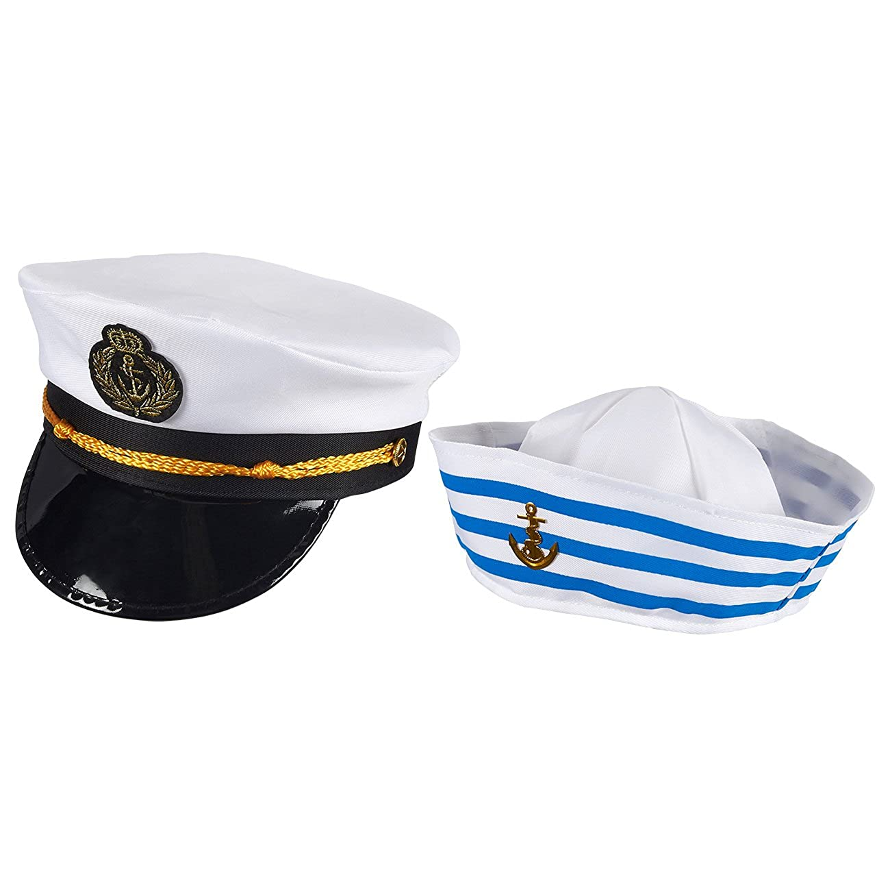 e703fbecea652 Amazon.com  Blue Panda Captain Hat and Sailor Hat - Pack of 2 - Yacht Hats  for Men and Women - One Size Fits Most Adults  Clothing