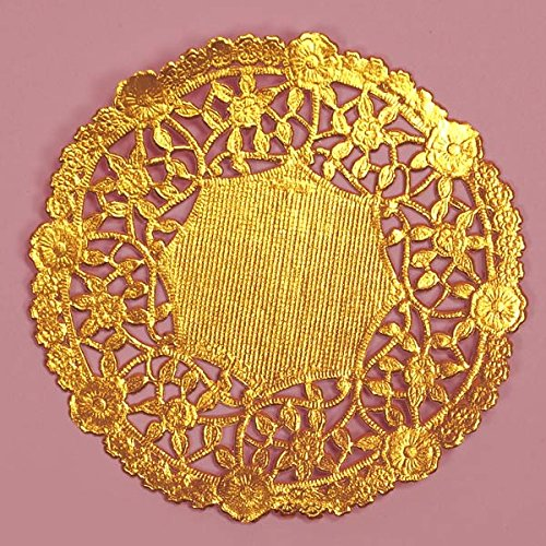 4 Inch Gold Round Lancaster Paper Doilies 100 Count by PEPPERLONELY