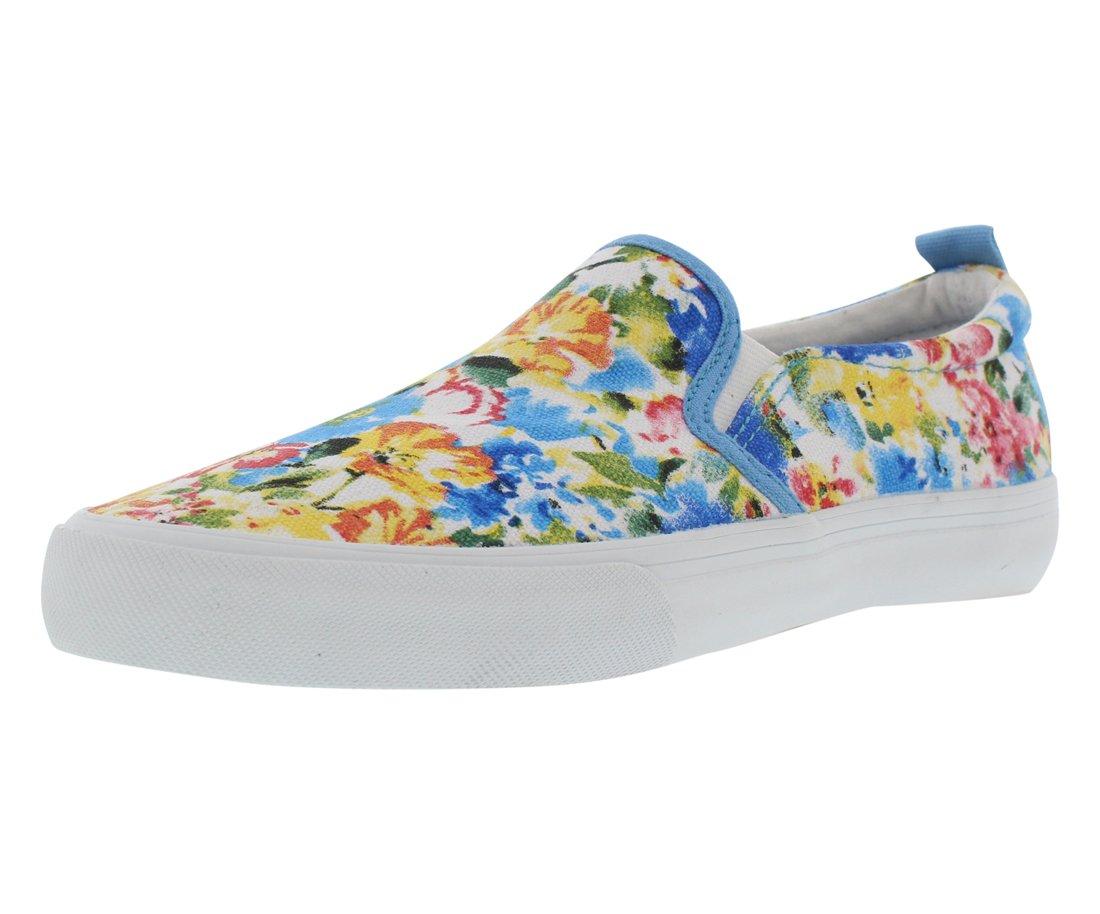 Polo Ralph Lauren Kids Carlee Twin Gore B Fashion Sneaker (Little Kid/Big Kid), Blue Floral, 6 M US Big Kid