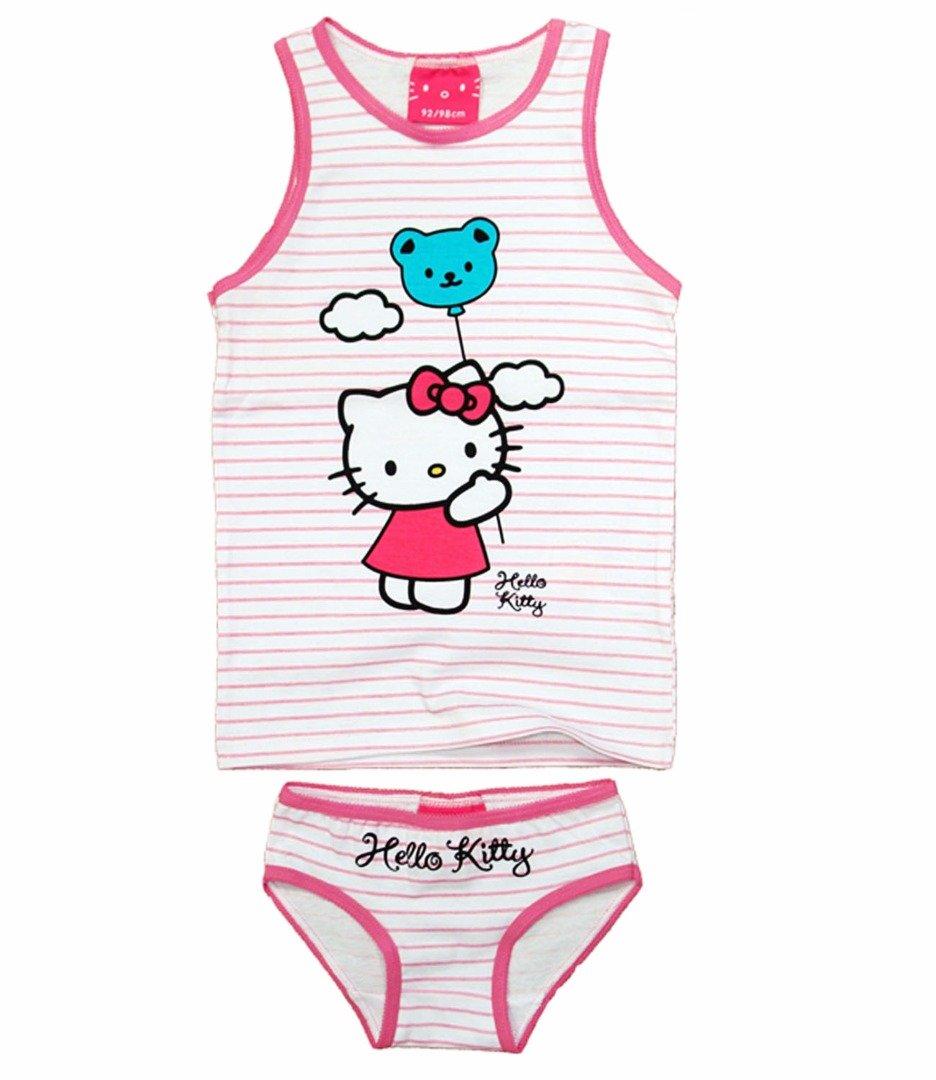 Hello Kitty Bambini 2 Pezzi Canottiera e Slip Pantaloni Set Biancheria Intima Bianco Ragazza 122cm 6-7 years