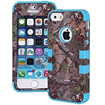 Tech Express (Tm) Camouflage Hunter Series Real Camo Tree 3-Layer Hybrid Impact Defender Durable and Flexible Silicone TPU + Hard Polycarbonate Outer Frame Cover Case for Apple iPhone 5 / 5s (Blue)