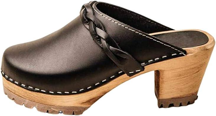 Amazon.com | Women's Clog Sandals Closed Toe Braided Strap Platform  Slide-on Summer Heeled Sandals | Mules & Clogs