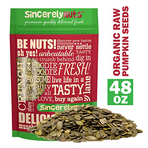 Sincerely Nuts - Organic Raw Shelled Pepitas Pumpkin Seeds (Unsalted) (3lb bag) | Antioxidant Rich Vegan, Kosher, Gluten Free Food | Bursting with Protein, Vitamins & -