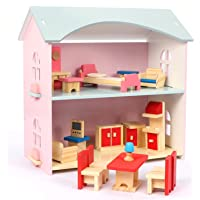 NextX Kids Doll House, Pretend Play Toddler Wooden Toys for Girls
