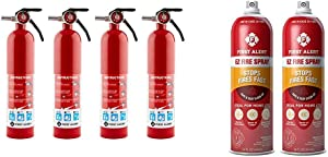 First Alert HOME1 Rechargeable Home Fire Extinguisher 4-Pack, Red & Fire Extinguisher   EZ Fire SprayFireExtinguishing Aerosol Spray, Pack of 2, AF400-2