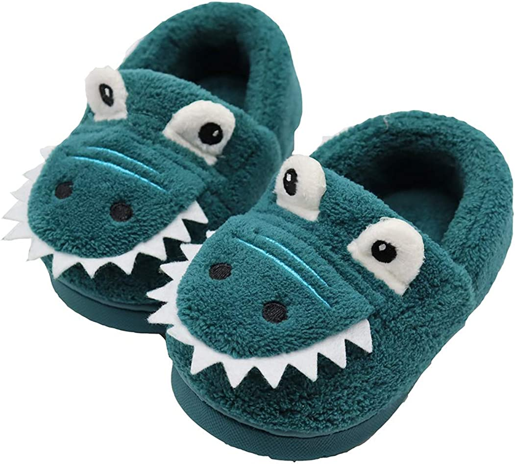 lghdzsw Boys Girls Home SlippersWarm Dinosaur House Slippers for Toddler Fur Lined Winter Indoor Shoes