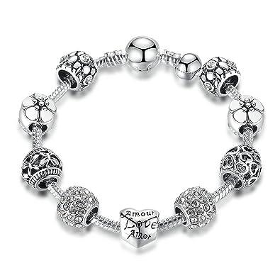 c5886afe23369 Carina Sterling Silver Plated Pandora Pink Shimmering Droplet Charm  Bracelet for Women Girls