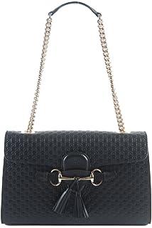 628fa4da5238 Gucci Women s Micro GG Guccissima Leather Emily Purse Handbag (Black)
