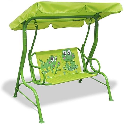 VidaXL Garden Outdoor Swing Chair Children Butterfly Hammock W/ Sunshade  Canopy Green