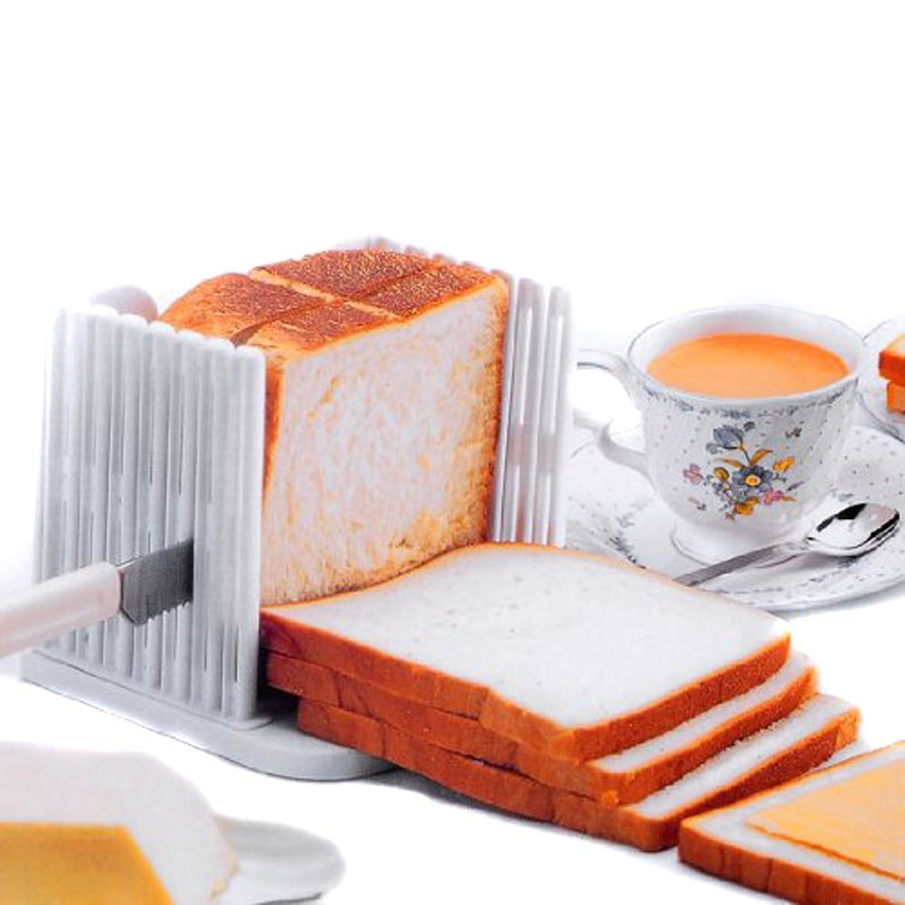 Vangoddy Foldable Adjustable Compact Bread Cutter Toast Slicer (White)