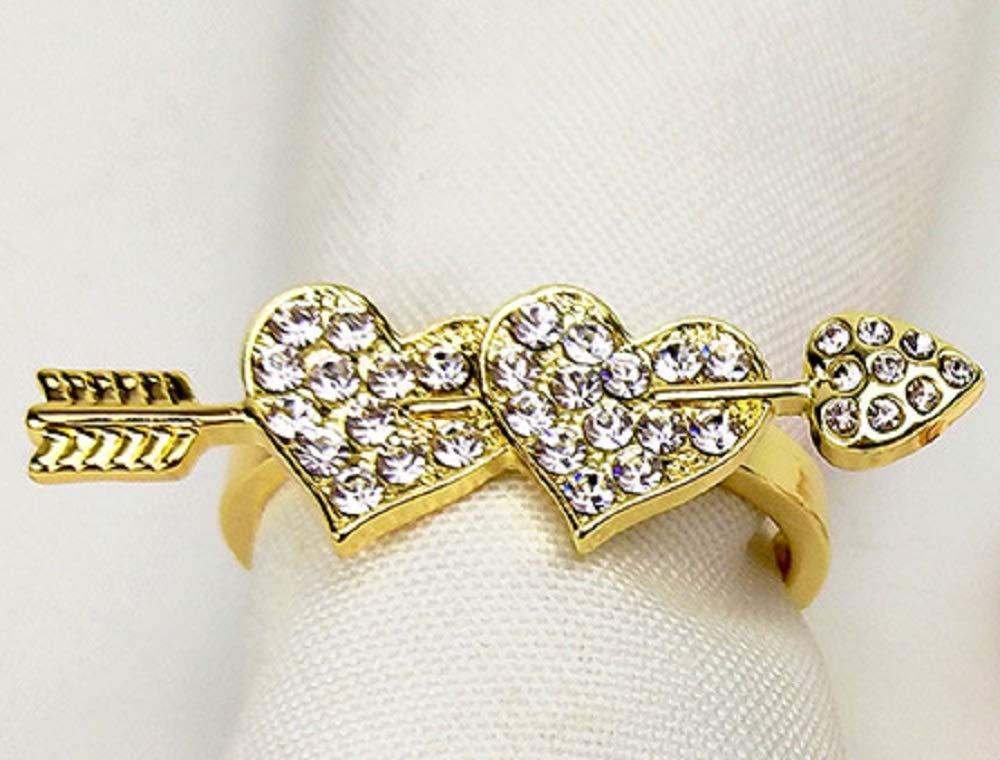 JulyLab Wedding Napkin Rings Set of 8 Party Celebration, Love Gold