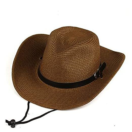 Image Unavailable. Image not available for. Color  Men Beachwear Sun  Protection Straw Hats Visor Western Style Cowboy Hat Outdoors 104be55544fc