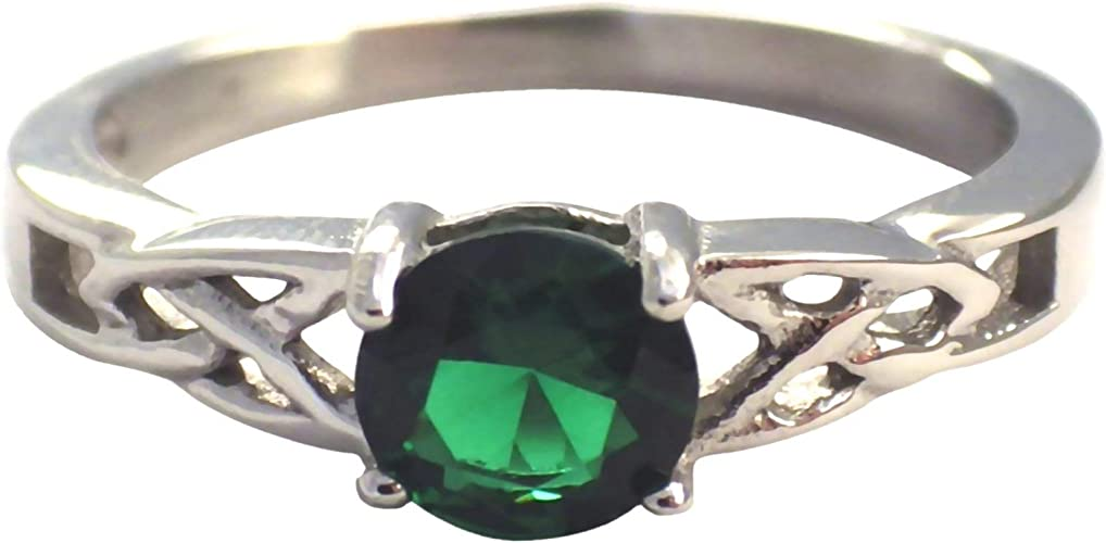 Emerald Green CZ May Birthstone Ring
