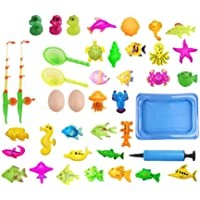 41Pcs Magnetic Fishing Bath Toy Set Boy Girl Water Play Toys Fishing Rod Net Inflatable Pool Toy Set Baby Bathtub Toys Parent-child interactive Toys Kids Fishing Games Toys Learning Educational Toys