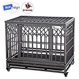 SMONTER 38' Heavy Duty Dog Crate Strong Metal Pet Kennel Playpen with Two Prevent Escape Lock, Large Dogs Cage with Wheels, Y Shape, Dark Silver