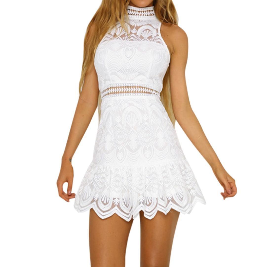 Ansenesna Kleid Damen Sommer A Linie Kurz Spitze Elegant Mini Partykleid Mädchen Ärmellos Neckholder Für Hochzeit Party Festlich