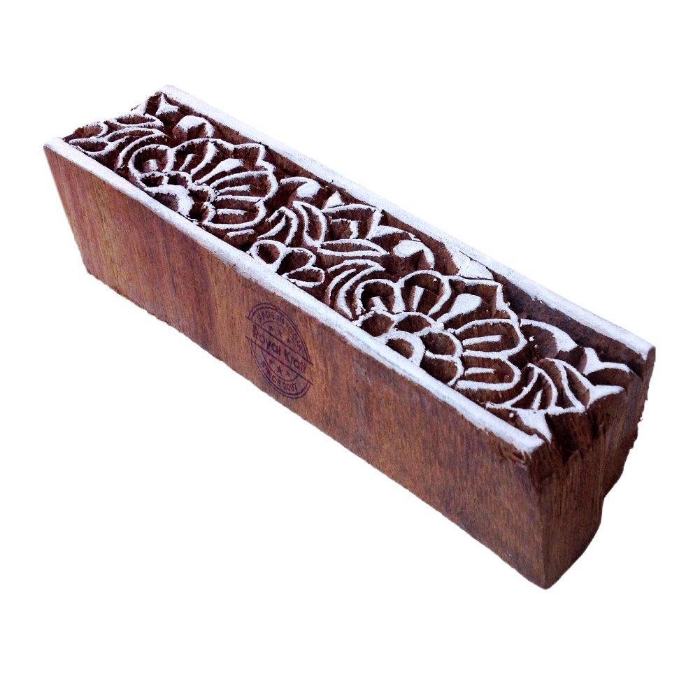 Trendy Geometric Pattern Border Wooden Block for Block Printing - DIY Henna Fabric Textile Paper Clay Pottery Block Printing Stamp Royal Kraft VTHHtag061